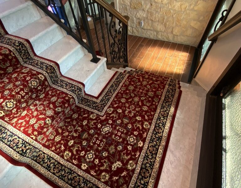 Carpet Runner Installed on a Marble Staircase by FloorMaven.com